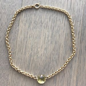 14kt italy green stone necklace